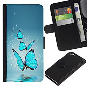 UNIQCASE - Apple Iphone 6 4.7 - Blue Butterfly Water Splash - Cuero PU Delgado caso cubierta Shell Armor Funda Case Cover