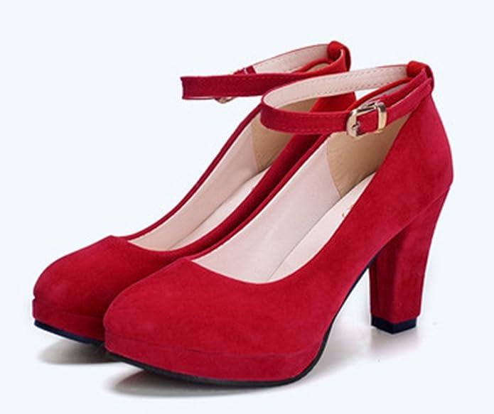 Bevalsa Damen Pumps Mary Janes mit Blockabsatz Plateau mit Schnalle 9cm Absatz Schuhe