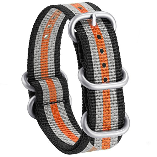 - Adebeda NATO Strap 20mm Nylon Watch Bands Replacement Straps with 5 Rings Silver Stainless Steel Buckle Black Orange