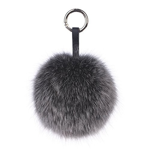 Ferand Genuine Fox Fur Pom Pom Keychain Womens Bag Charm Fluffy Fur Ball,black frost,5.12 inch - Fox Black Charms
