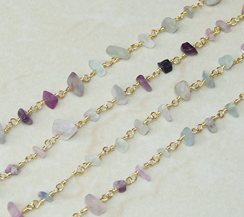 Fluorite Nugget Chip Rosary Chain - Gold Plated Wire Wrapped Rosary Chain. 6mm - 10mm Chips - Sold by the Foot