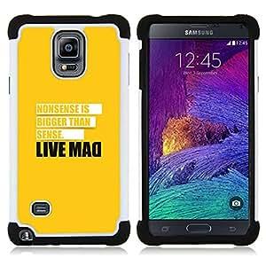 BullDog Case - FOR/Samsung Galaxy Note 4 SM-N910 N910 / - / Live Mad Funny Message /- H??brido Heavy Duty caja del tel??fono protector din??mico - silicona suave