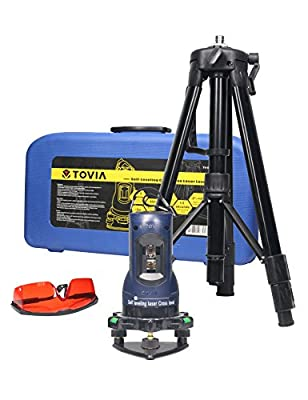 TOVIA Self-Leveling Cross Line Laser Level Kit ?Tripod Tool kit with Horizontal Vertical layout, IdeaL for installing kitchen cabinet,bathroom tile,hanging picture on wall and so on