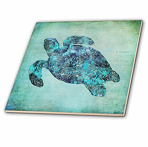 - 3dRose ct_263000_1 Sea Turtle Mixed Media Illustration Ceramic Tiles