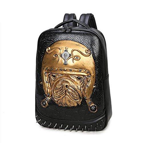 Viento caliente y frío mochila para hombre/mochila animal tridimensional del patrón con el hombro/mochila de moda personalizada-Negro dorado