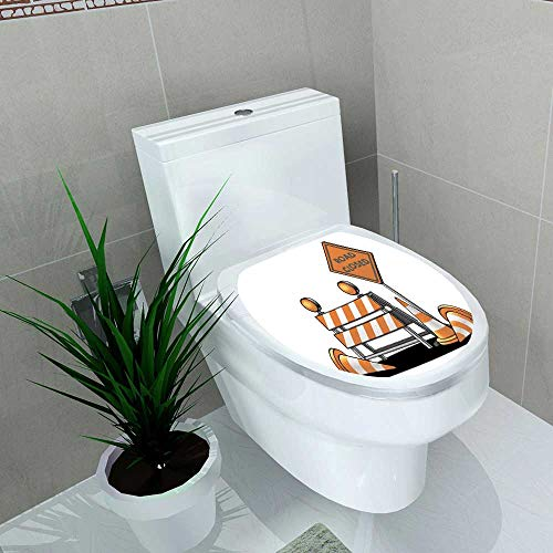 Toilet Sticker Signes Avant coureurs de la Circulation de dessins animés Home Decor Applique Papers W15 x L17]()