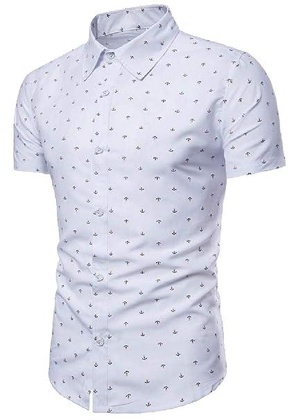 Lutratocro Mens Fashion Beach Short Sleeve Print Button Down Shirts