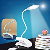 Laz-Tipa - LED Reading Eye Protection Desk Lamp Adjustable Brightness USB Rechargeable LED Desk Table Lamp Light with Clip Touch Switch T2