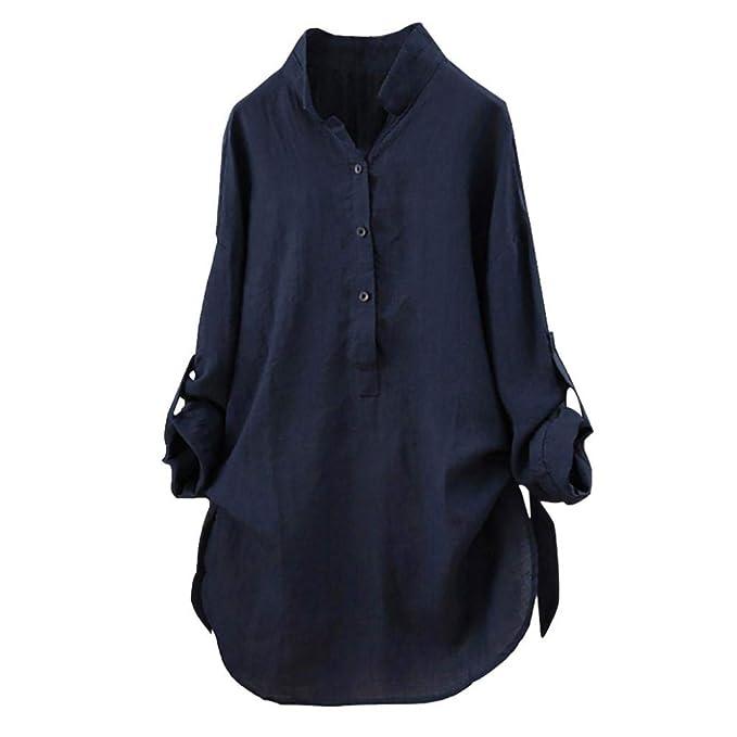 ... Invierno de Hombro Blusa Mujer Tallas Grandes Camisas Manga Larga Elegante de Color sólido Top de Manga Larga 2018 Oferta: Amazon.es: Ropa y accesorios