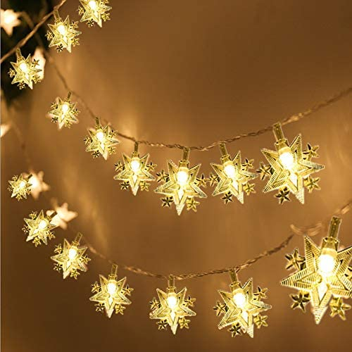 MILEXING Christmas Lights, Star String Lights 19.7ft 6m 40 LED Fairy Lights Battery Powered String Lights for Home Garden Party Wedding Birthday Christmas Indoor Outdoor Decoration Warm White
