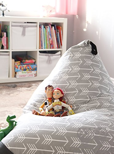 MiniOwls TOY STORAGE BEAN BAG - fits 200L/52 gal - Stuffed Animal Organizer in Gray - Large, Soft & Comfy Cover that Creates Cozy Lounger Bed - 3% donation to Autism Foundation.