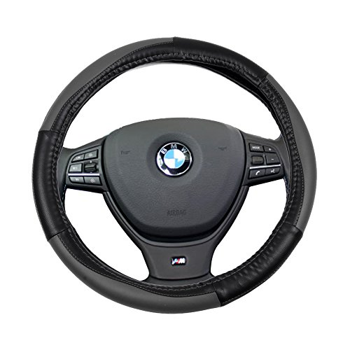 SCITOO Black and Grey Universal 15 Inch Steering Wheel Cover PVC Leather Protection Breathable Car Steering Wheel Cover