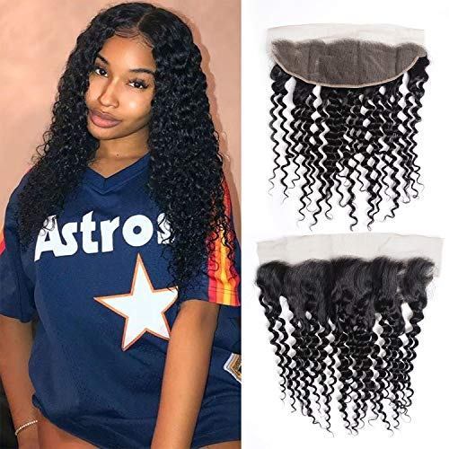Deep Wave Lace Frontal 13x4 Free Part 10 inch 100% Unprocessed Virgin Brazilian Deep Curly Human Hair Lace Frontal Natural Black(10, Lace Frontal) ()