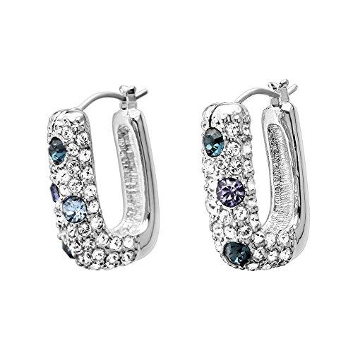 SINCERA Ensemble bracelet collier et boucles d'oreilles argent bijoux femme Aqua Marine/Blue/Violet avec cristaux original de SWAROVSKI traumhaft clignotant