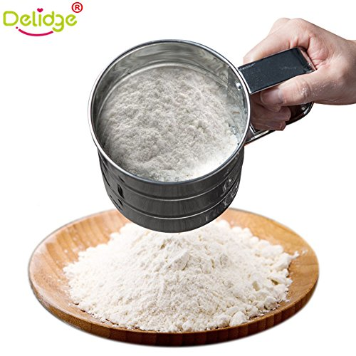 Delidge Stainless Steel Cup Flour Sifter Baking Stainless Steel Shaker Sieve Cup Mesh Crank Flour Sifter with Measuring Scale Mark for Flour Icing Sugar Size:9.4x10cm,Handle Size:5cm
