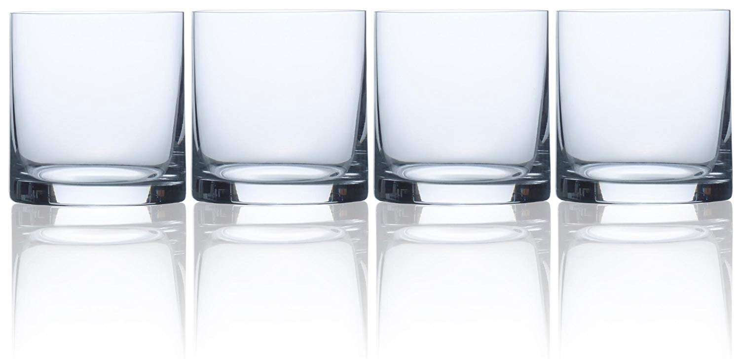 Circleware 44651 Soiree Double Old Fashioned Whiskey Glasses, Set of 4, Drinking Glassware for Water, Juice, Iced Tea, Beer, Wine, Liquor Brandy Scotch, Bourbon and Best Beverage Gift, 14.8 ounce, DOF