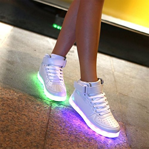 (Presente:pequeña toalla)JUNGLEST USB Carga de la Zapatilla Zapatillas de Deporte Con 7 Colores de Iluminación LED Intermitente Para los Amantes de N c39