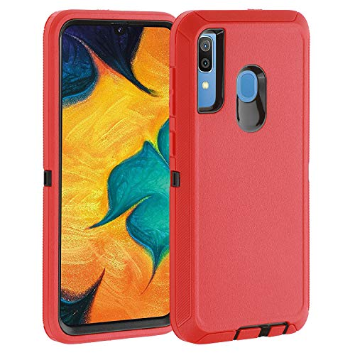 smartelf for Samsung Galaxy A30 Case A20 Heavy Duty Shockproof Drop Protection Dual Layer Protective Phone Cover for Galaxy A20/A30-Red/Black