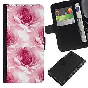 iBinBang / Flip Funda de Cuero Case Cover - Acuarela rosas pétalos de la flor floral blanca - Sony Xperia Z3 D6603 / D6633 / D6643 / D6653 / D6616