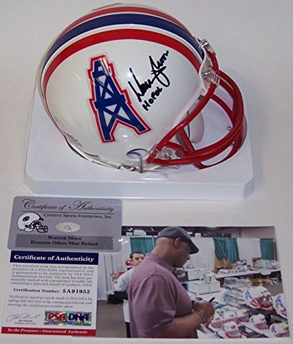 Warren Moon Autographed Hand Signed Houston Oilers Mini Football Helmet - with Hall of Fame 2006 inscription - PSA/DNA (Mini Oilers)