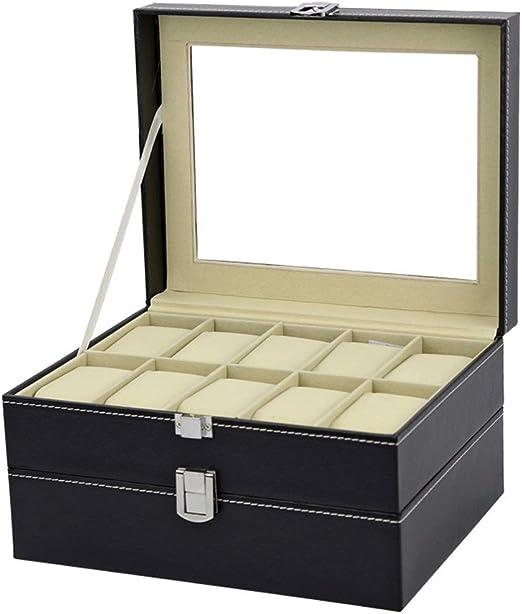 Cajas para Relojes 25x20x14cm Caja de Reloj 20 for Hombre de la Caja Superior de Cristal Negro y Gris Pantalla Organizador (Color : White, Size : S): Amazon.es: Hogar