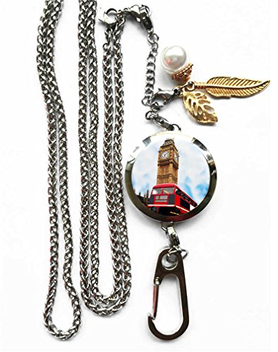 RhyNSky London Red Bus Big Ben Aromatherapy Essential Oil Diffuser Locket Pendant ID Badge Holder Lanyard Necklace Bracelet Keychain with Chain and Pads, C1577