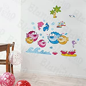 Peces tropicales 3 xl etiquetas de la pared pegatinas - Amazon decoracion pared ...