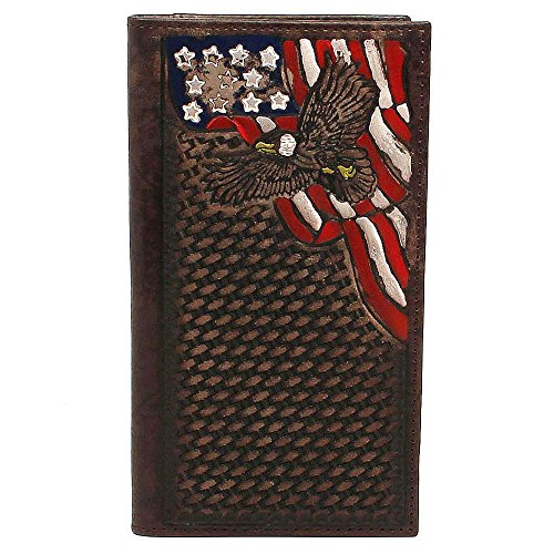 Nocona Men's Painted USA Corner Rodeo Wallet, Brown, One Size