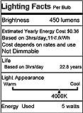 JandCase LED Globe Light Bulbs Candelabra Base, 40W Incandescent Equivalent, 5W, 450lm, Natural Daylight White 4000K, G14 LED Bulbs for Ceiling Fan, E12 Base, 6 Pack