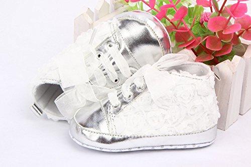 YICHUN suave bebé zapatos prewalker cuna zapatos rosa de bebé zapatos de suela de encaje zapatos negro Talla:Sole Length:11cm/4.3 inches blanco