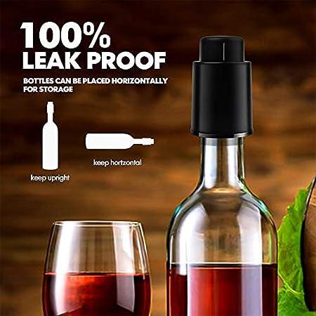 Botes de vino de YFOX, con escala de tiempo, botellas de vino reutilizables, para los amantes del vino, son el mejor accesorio para familias y fiestas, 2 unidades (negro)