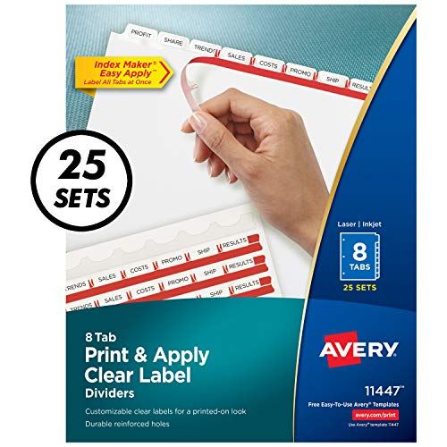Avery 8-Tab Binder Dividers, Easy Print & Apply Clear Label Strip, Index Maker, White Tabs, 25 Sets (11447) ()