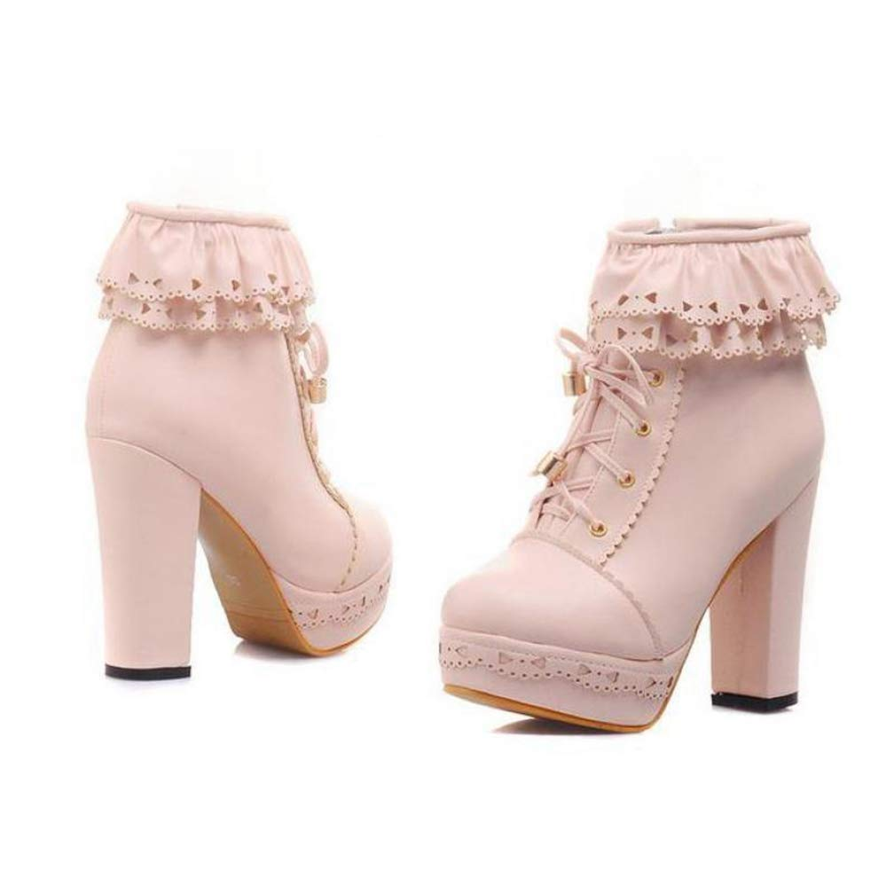 Women Ankle Boots Lace-Up Round Toe Sweet Cross-Tied Square High Heels Martin Motorcycle Rubber Shoes