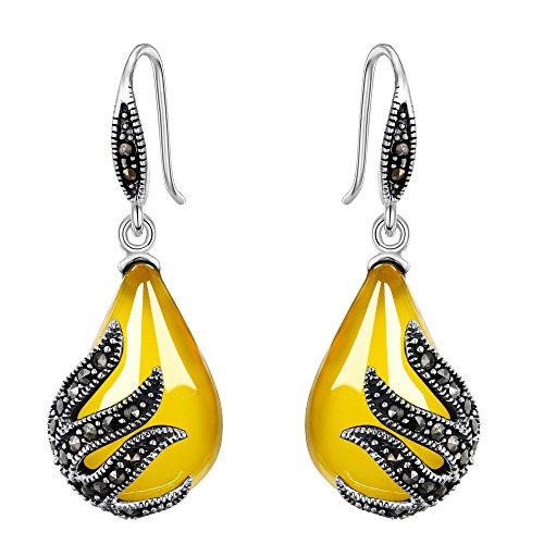 TENYE Women's 925 Sterling Silver Crystal Art Deco Leaf Teardrop Hook Earrings Adorned With Natural Chalcedony 1u3em