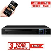 ProVisual 4 Channel AHD/960H Security Hybrid DVR 720p CCTV High Definition Recorder for Mobile Live and Playback Monitoring