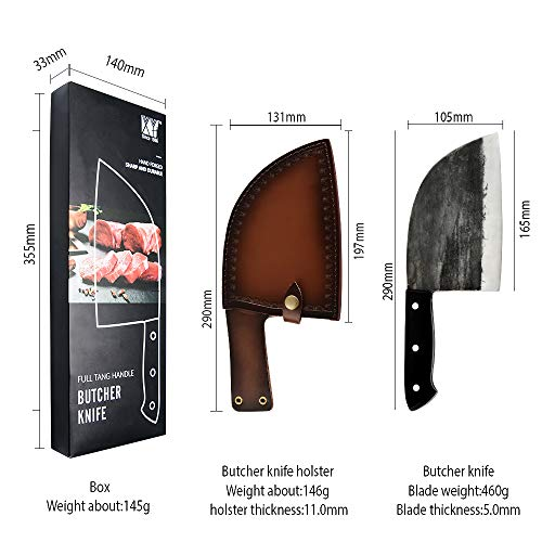 Handmade Forged Camping Chef Knife Full Tang Butcher Knife Outdoor Meat Vegetable Cleaver for BBQ Hunting with Leather Sheath