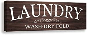 Laundry Sign - Retro Laundry Sign Wall Art | Laundry Regular Canvas Print Sign Frame | Laundry Antique Wood Wall Sign Decoration (6 X 17 inch, Laundry 2)