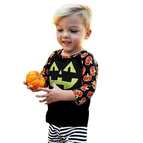 POLP Niño-Halloween Disfraces de Halloween para niños Halloween Disfraz niña Disfraz Halloween Bebe Tops con Estampado de Calabazas de Manga Larga para ...