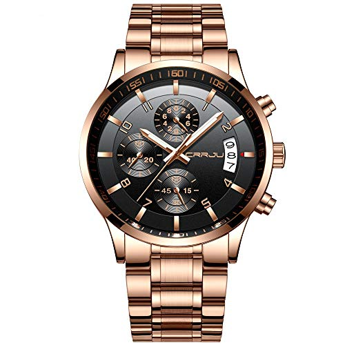 CRRJU Big Face Sports Chronograph Watch for Men, Waterproof Military WristWatches in Rose Gold Steel Band