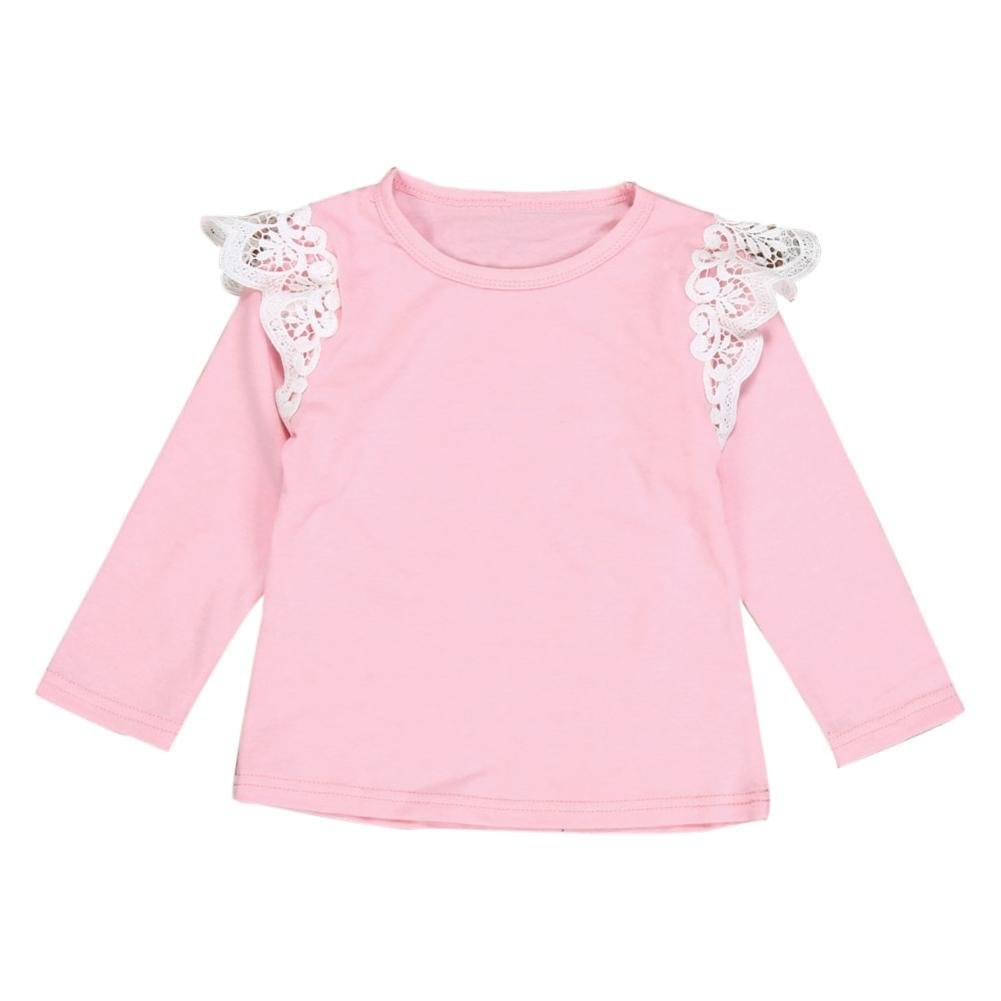 Clode for 0-2 Years Old Girls, Toddler Baby Kids Girls Newborn Infant Baby Girls Lace Flying Long Sleeve T-Shirt Tops Clode-TS-00387