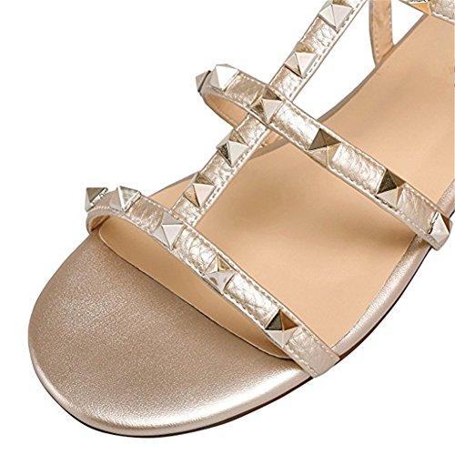 Bande Gold Mules Femmes Chris de T cloutées Sandales Robe de Chaussons Studs Or Rivets Leather Strappy de Cxwx6XqE
