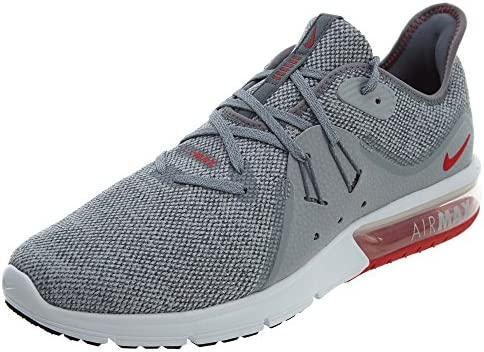 Nike Air Max Sequent 3 Size 11 Mens Running Cool Grey University Red-Wolf Grey Shoes
