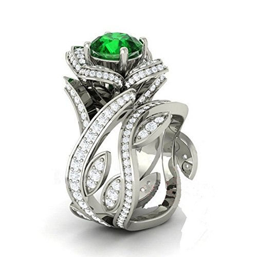 - 3.00 Ct Round Cut Lab Created Simulated Diamond and Green Emerald Flower Lotus Engagement Wedding Bridal Set Ring 14k White Gold Plated