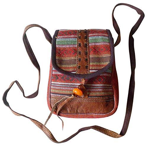 ET Nepalese Tones GHERI Tones Passeport Sac Textile Earth Cuir en D'ÉPAULE Earth Taille Moontang coloré Buffalo gqBw8Yx