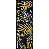 Tropical Palm Patterned Area Rug, Bright Beach Garden Forest Leafs Themed, Runner Indoor Hallway Doorway Living Area Bedroom Cabin Carpet, Bold Modern Nature Lover Design, Yellow, Navy, Size 1'8 x 5'