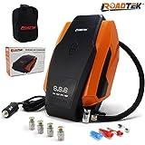 Digital Tire Inflator Portable Air Compressor 12V Auto Pump, 3 Adaptors for Inflatables, 1 Extra Fuse, Carry Bag, BONUS 4 Self Monitoring Valve Caps