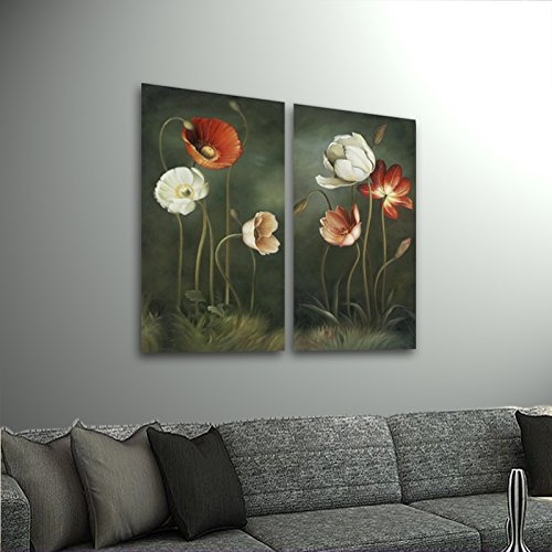 Wieco Art - Large 2 Piece Modern Floral Giclee Canvas Prints Artwork