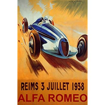 reims 1938 france car race alfa romeo speed racing vintage poster repro posters. Black Bedroom Furniture Sets. Home Design Ideas