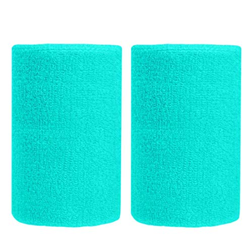 BBOLIVE 4' Inch Wrist Sweatband in 17 Different Neon Colors - Athletic Cotton Terry Cloth - Great for All Outdoor Activity(1 Pair) (Aqua Green)