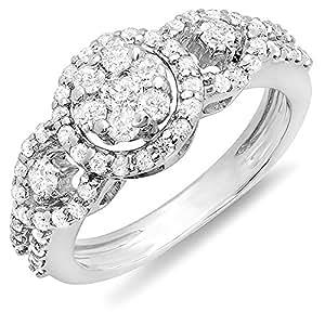 0.85 Carat (ctw) 14K White Gold Round Diamond Bridal 3 Stone Cluster Engagement Ring (Size 5)
